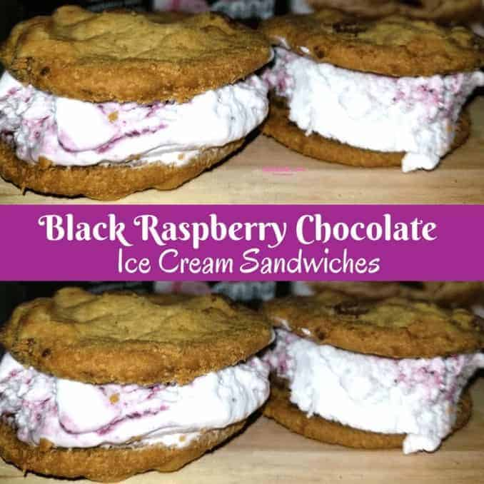 Black Raspberry Chocolate ice Cream Sandwiches
