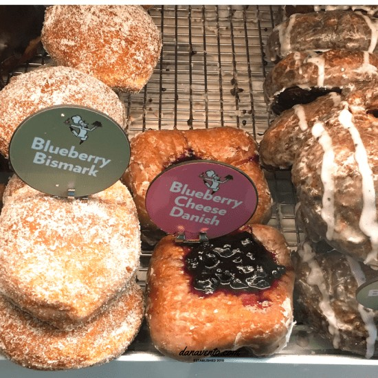 Blueberry Bismark Donut and Blueberry Cheese Danish Donuts