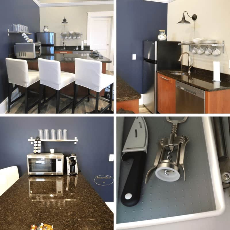 Kitchenette area in First Mate Room. Put In Bay Boutique Hotel