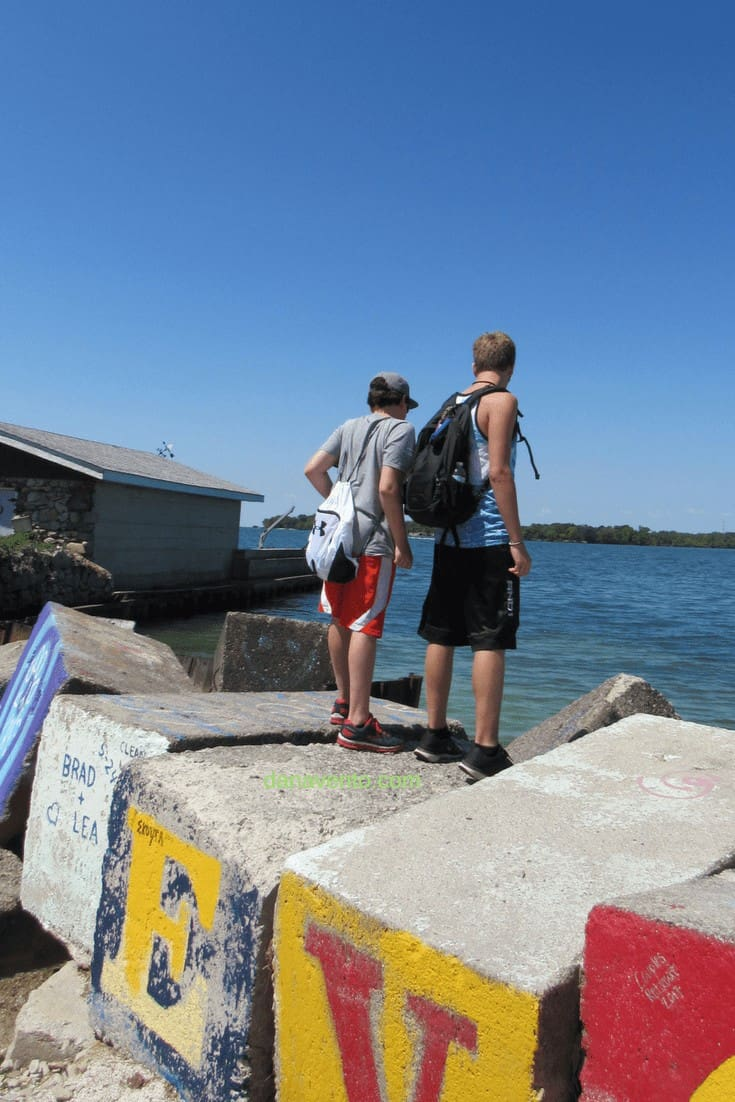 Graffiti Rocks Put In Bay looking at Lake Erie