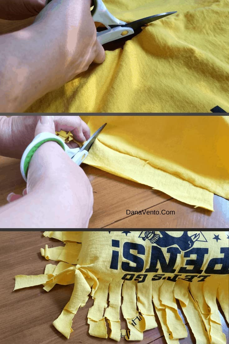 How To Craft A No Sew Pillow From A Favorite Sports Tee, college covered, powerd by discover student loans, parents, college, kids, teens, going to college, college bound, high school graduations, money, studen loans, craft, diy project, pillow, tee shirt, scissors, step by step tuturial, dana diy blog, dana diy craft, crafting with dana, sports shirts, tee shirts, favorite shorts, worn out shirts, shirts we love, recycle, upcycle, reuse, pillow tee shirts, college craft, college dorm room, How To Craft A No Sew Pillow From A T-Shirt