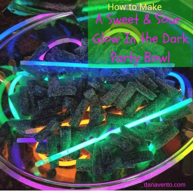 How to make a sweet and sour glow in the dark party bowl, DIY, CANDY, sweet treat, treat yourself, holiday diy, crafting, food, parties, New Year's Eve, Celebrations, Holiday Parties, partying, glow, glow in the dark, glow sticks, Sour Punch® Bites®, Blue Assorted Bites® , Raging Reds Bites®, food and decor, decor for parties, fast decor, easy diy, holiday fancy, holiday light up decor, no batteries required, fun with food, creative food presentation, how to present party bowls, glow in the dark, bowls that glow in the dark, glow in the dark food bowls, party, parties, food for parties, sweet treats for parties, sweet treats for your, Sour Punch, Sour Punch Red, Sweet and Sour treats, chewy, gummy like,How To Make A Sweet and Sour Glow In The Dark Party Bowl