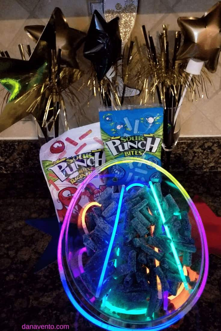 How to make a sweet and sour glow in the dark party bowl, DIY, CANDY, sweet treat, treat yourself, holiday diy, crafting, food, parties, New Year's Eve, Celebrations, Holiday Parties, partying, glow, glow in the dark, glow sticks, Sour Punch® Bites®, Blue Assorted Bites® , Raging Reds Bites®, food and decor, decor for parties, fast decor, easy diy, holiday fancy, holiday light up decor, no batteries required, fun with food, creative food presentation, how to present party bowls, glow in the dark, bowls that glow in the dark, glow in the dark food bowls, party, parties, food for parties, sweet treats for parties, sweet treats for your, Sour Punch, Sour Punch Red, Sweet and Sour treats, chewy, gummy like