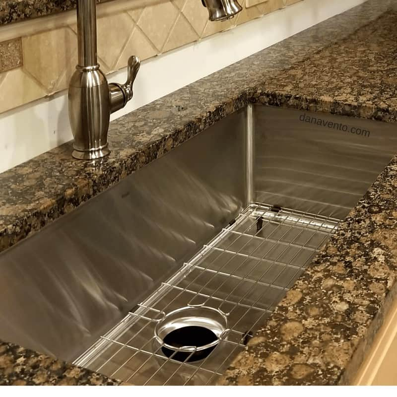 classic ceramic sink, Nantucket Sink, Stainless Steel Sink, Small Radius, Zero Radius Professional Sinks, Model SR3618-16, largest single bowl sink. Measuring over 5000 cubic inches of space, large kitchens, large dishes, pots, pans, washing dishes, kitchen, cooking, food, baking,food prep, wash, rinse, industrial size, shiny, cleaning, grate, undermount, sinks in kitchen, diy, granite countertop, best sink, kitchen sink diy, large, large families, living in the sink, 5 Things To Know About Undermount Sinks, remodel, redo, how to, learn, size matters, spatter matters, depth matters, sanitary matters, brand matters, bending, stretching, faucets, make a change, KF-GNPD-1-SN, gooseneck, kitchen faucet finished in satin nickel, gooseneck pull-down