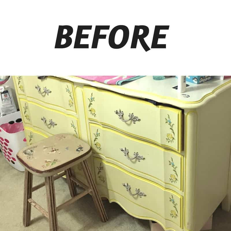 furniture yellow before makeover