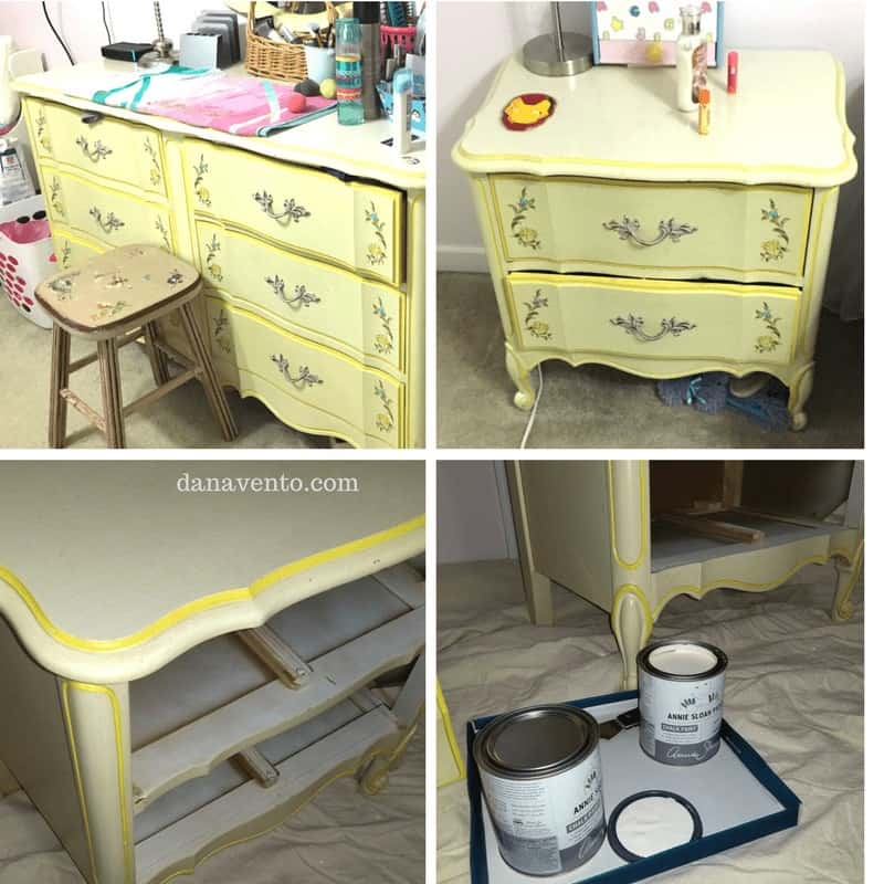 Yellow furniture before chalk paint