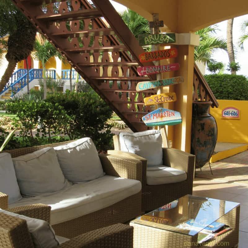 Divi Pink Flamingo- Best Bonaire Resort- Front reception couch