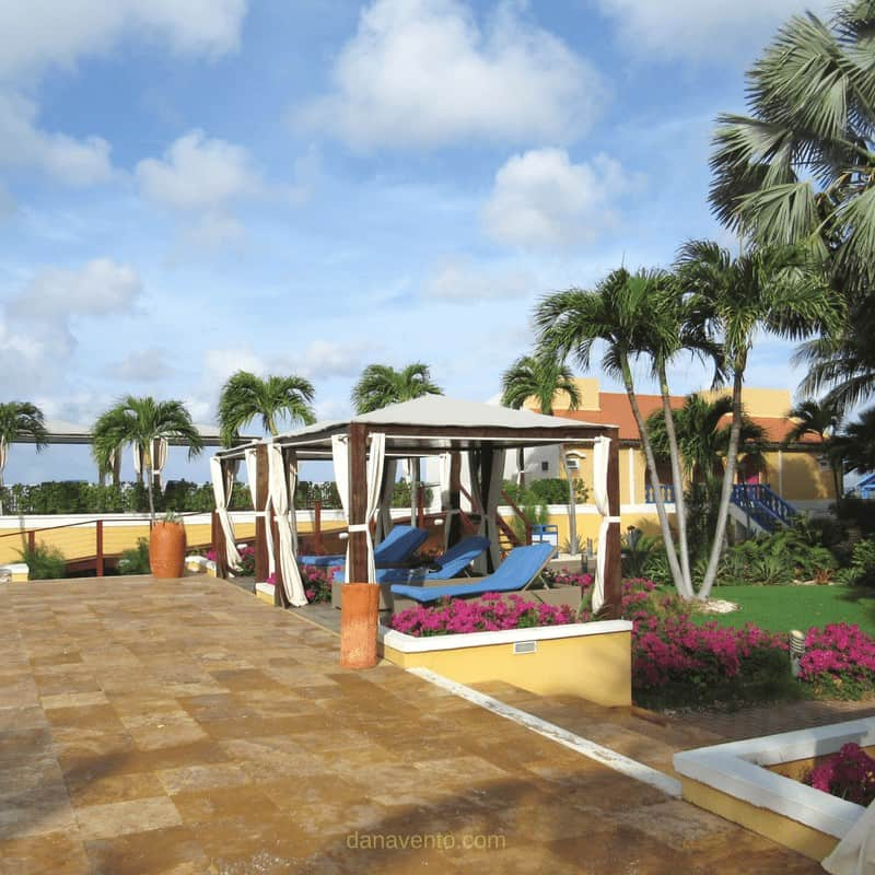 Cabanas for shelter from the welcoming sun at Divi Flamingo in Bonaire
