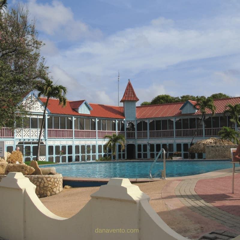 Pool view at Best Bonaire Resort: Divi Pink Flamingo, Pool #2 close to the Pro Dive Shop