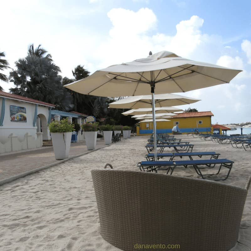 beach seating on sand by Pro Dive Shop at Best Bonaire Resort