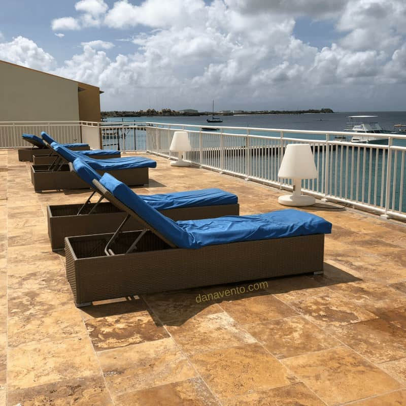 Chaise loungers at best Bonaire resort for sun soaking and star gazing!