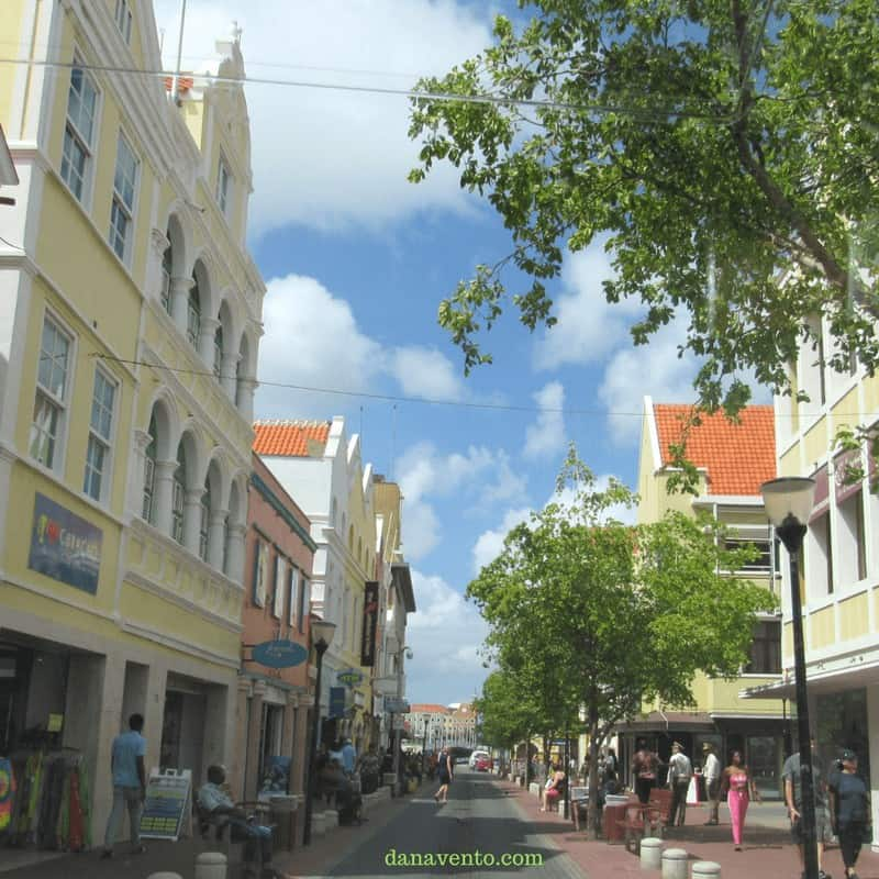 Punda street with shopping in Curacao