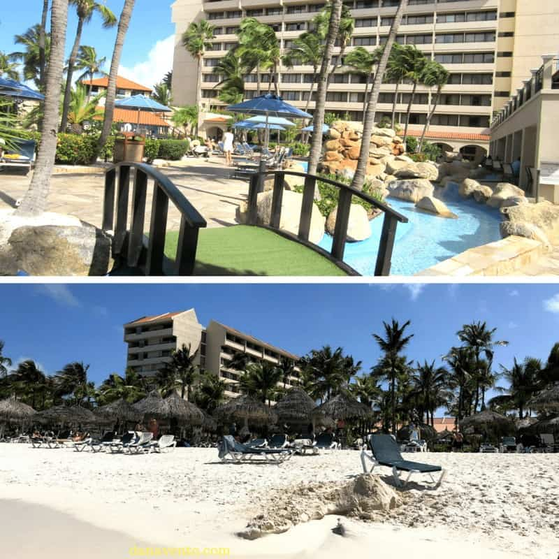 Pool view of the stunning all-inclusive Aruba Resort on Palm Beach: Barcelo