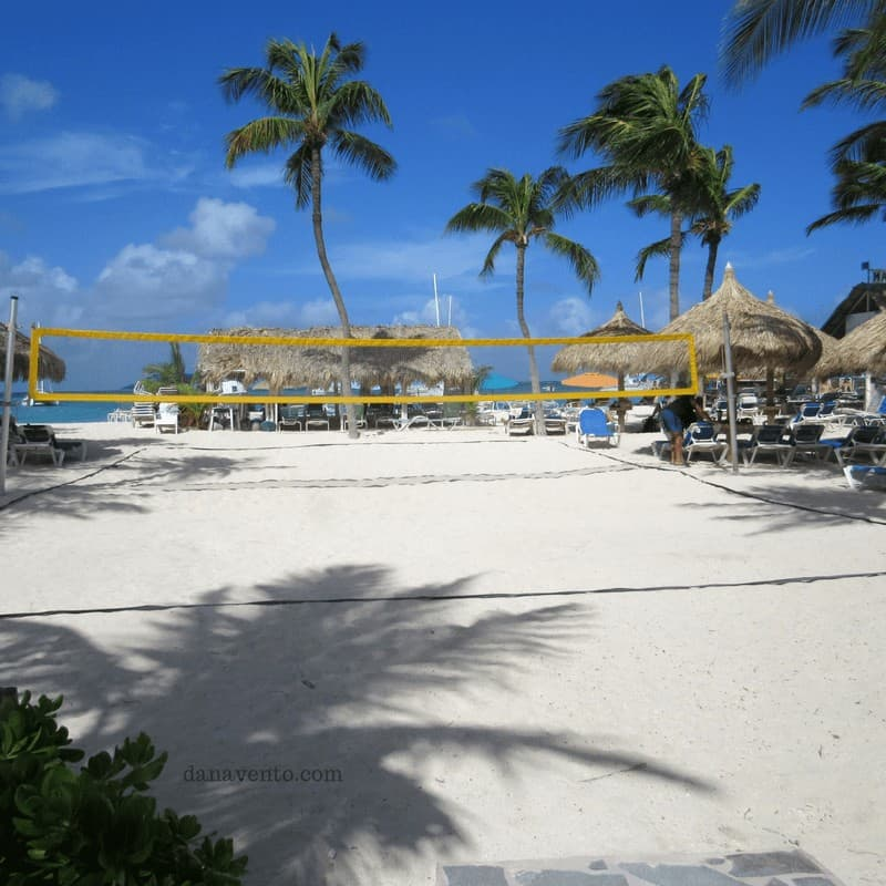 volleyball area included with your all-inclusve resort in Aruba