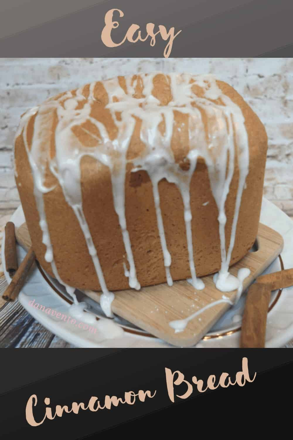 Cinnamon Bread on Cutting Board with Icing Dripping
