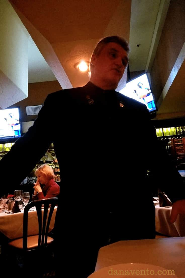 Captain of the dining room Phillipe at Piero's. Vegas Old School Italian Dining