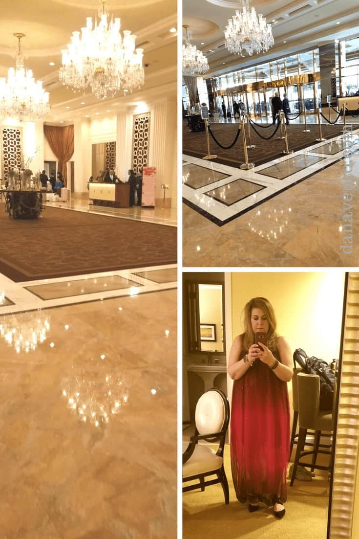 Collage with views of hotel lobby to the left and upper right and woman taking selfie in lower right