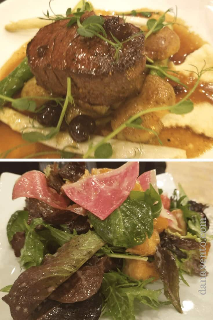 Collage of steak on a plate at top and salad at bottom