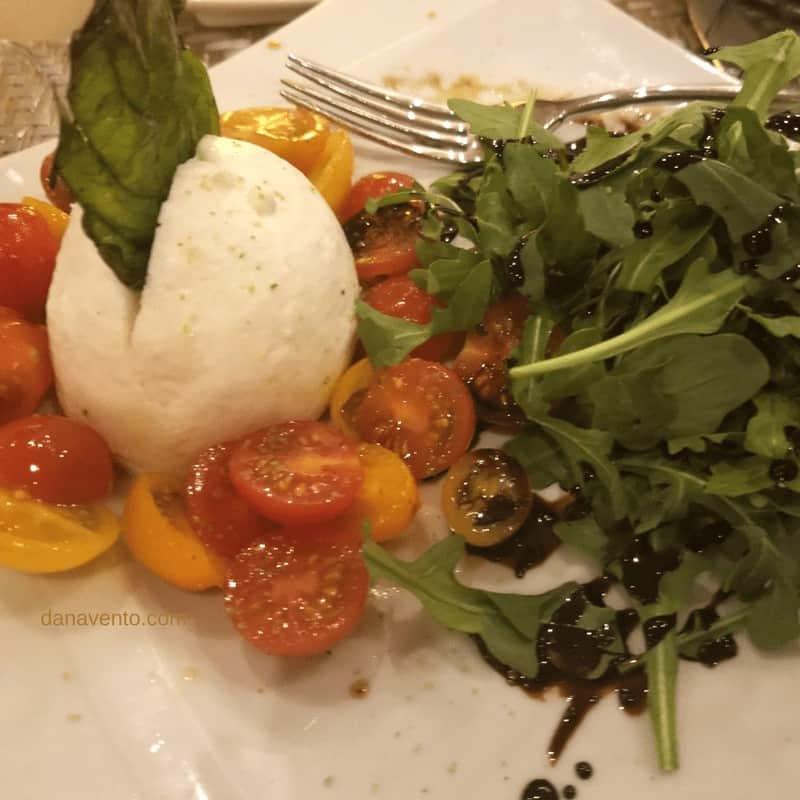 Mozzarella salad on plate