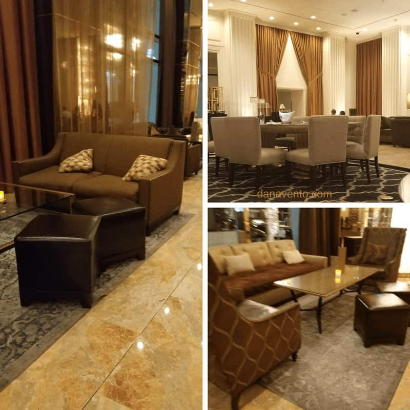 Collage of various views of hotel lobby