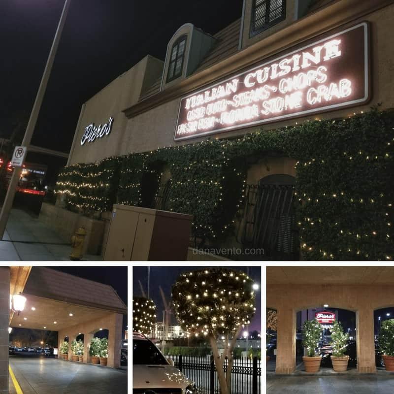 Vegas Old School Italian Dining outside of Piero's restaurant - Entrance & Parking Lot