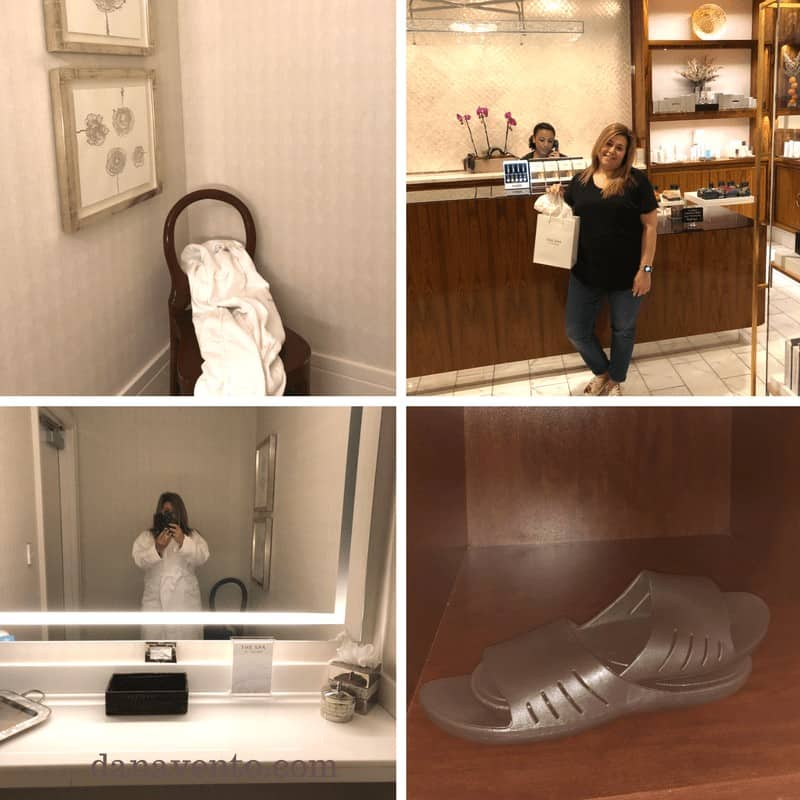 Collage with town on chair in upper left, woman standing in front of counter in upper right, woman photographing herself in mirror at lower left and plastic shoes in lower right.