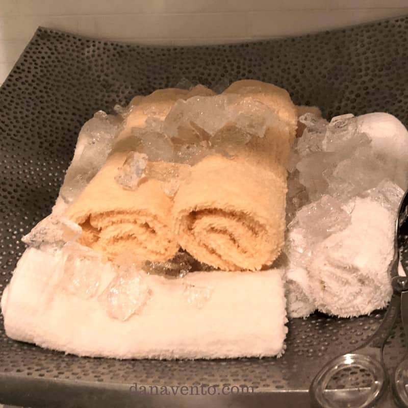 Rolled towels covered with ice.