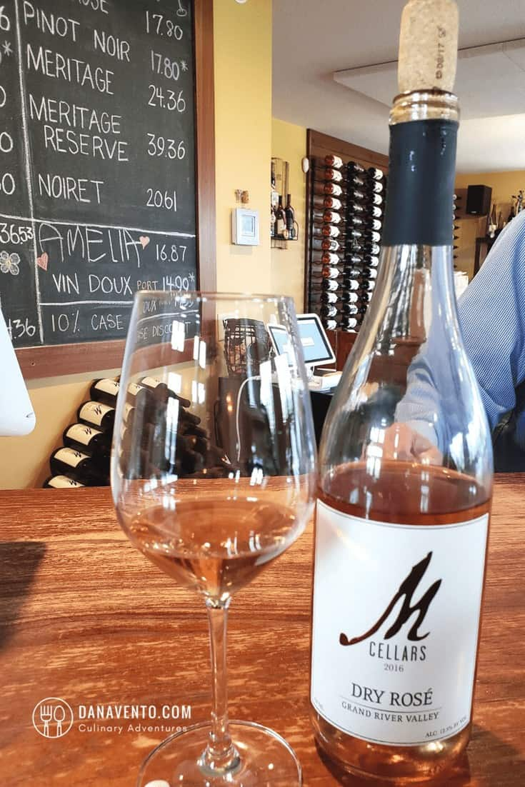 wine country in Ohio at M Cellars. Dry Rose