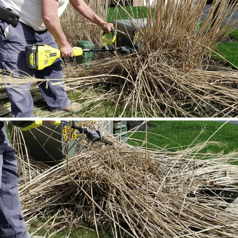 """17.5"""" Hedge Trimmer EXPAND-IT Attachment cutting tall grass"""
