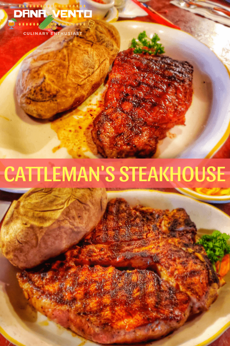 Steak and Potato on plates at Cattleman's Steakhouse