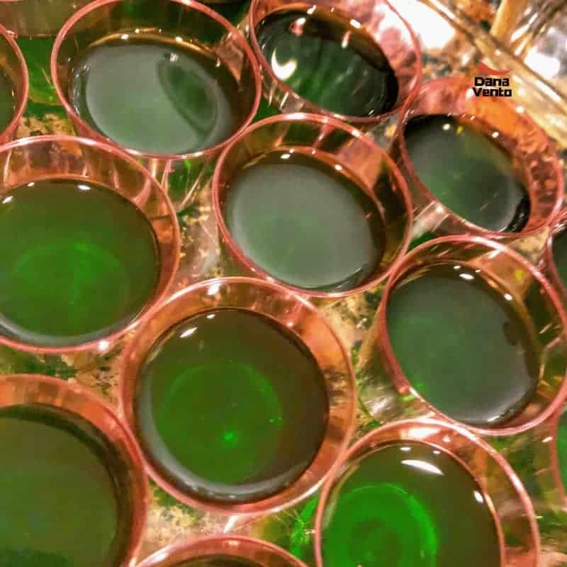 Amaretto Sour Jello Shooters being made
