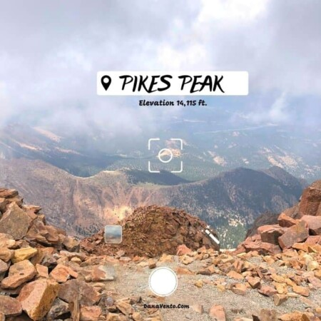 Pikes Peak summit looking out and down