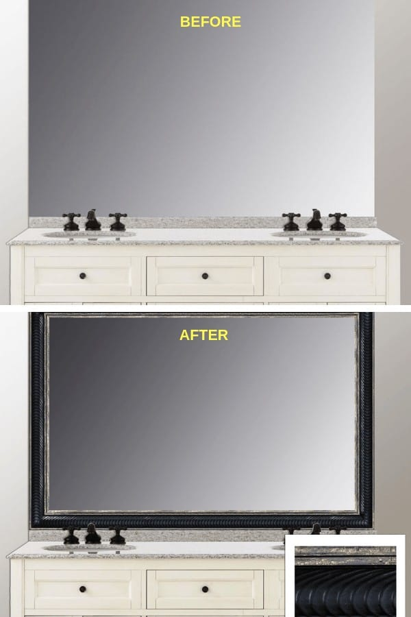 HUDSON BEFORE AND AFTER, MIRROR CHIC, FRAME YOUR MIRROR, WHY TO FRAME YOUR MIRROR, DIY, UPGRADE, 5 STAR, HOUSE SELLING, STAGING, WHAT TO DO, WHAT TO KNOW, MIRROR CHIC, CUSTOM QUALITY FRAMES, MEASURE, SAMPLES, COLORS, STYLES, INSTALL YOURSELF. ON MIRROR, NO DISMOUNTING, TIPS, TRICKS, FAST AND EASY MIRROR FRAMING