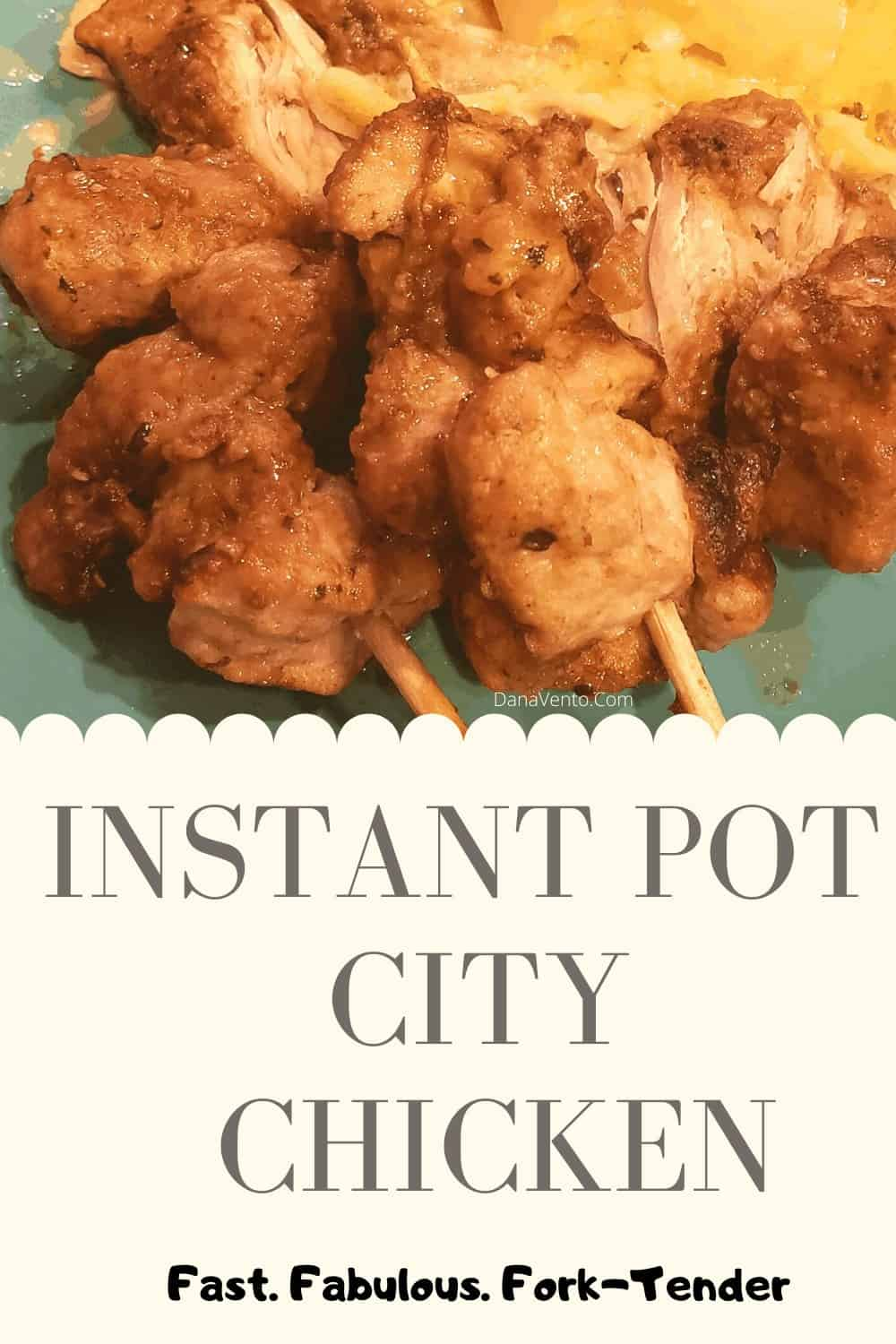 Instant Pot City Chicken cooked on plate on skewers falling off skewer