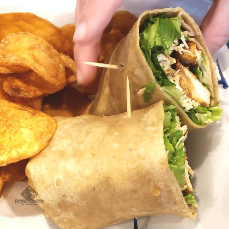 Castellano's Food in Bayou Country Caesar Shrimp Wrap with Chips