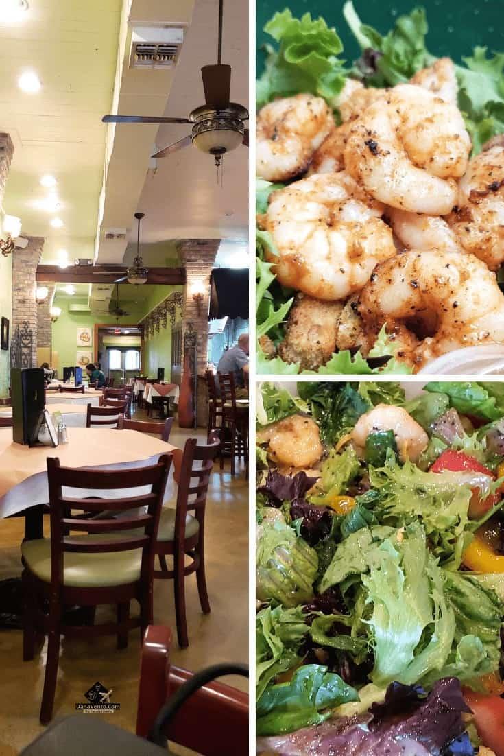 Shrimp. Salad. Inside a Bayou Country Lunch Destinations restaurant.