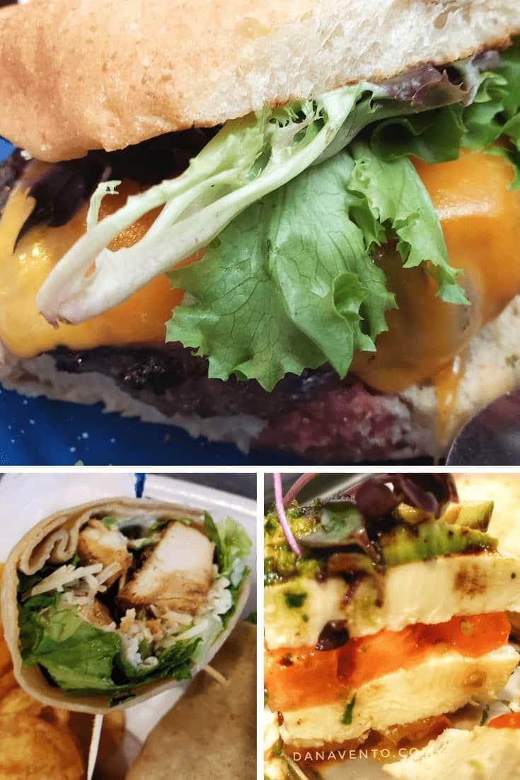 bacon jam burger, caprese salad + a wrap sandwich at Bayou Country Lunch Destinations
