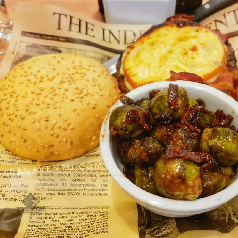 Smoked Gouda burger with a side of bacon balsamic Brussel sprouts