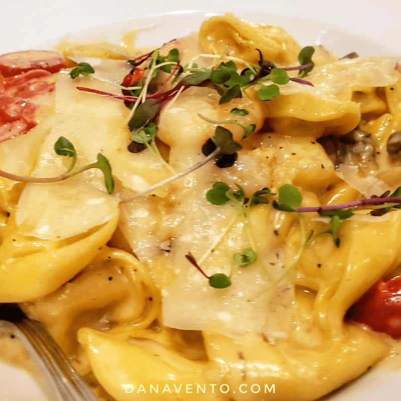 Five Cheese Tortellini with, gulf shrimp, mushrooms, tomatoes, truffle cream sauce