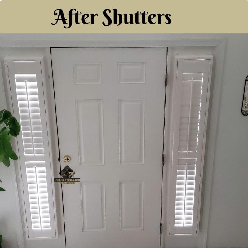 Sidelight window shutters installed
