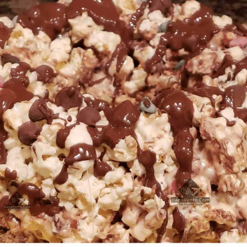 Chocolate Trio Popcorn Cake, popcorn, flavored cake, marshmallows, holidays, parties, gatherings, gifting, tailgating, coconut, butter, fast, fabulous, recipe, dessert, no bake, chocolate, mix of chocolates,