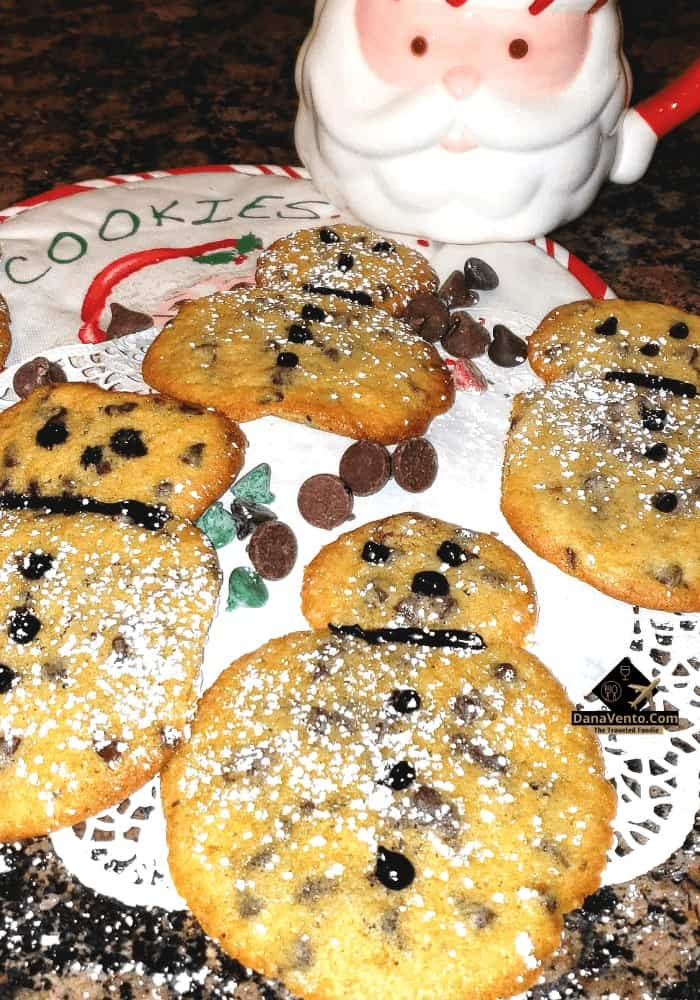Chocolate Chip Snowman Cookies