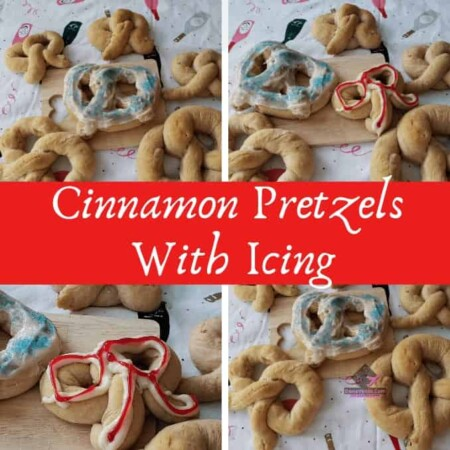 Cinnamon Pretzels With Icing, Pretzels, Pretzel Dough, Cinnamon, easy to make, bread machine dough, vanilla, flour, yeast, 3 feet, strings, rope, twist, braid, bake, cook, homemade, at home, milk, dairy, icing, large pretzels, medium, small, video recipe, homemade bread, dough, flour, sections, cutting, pieces, create, recipe, baking, New Year's, Parties, Treats, Brunches, Sides, Sweet Bread