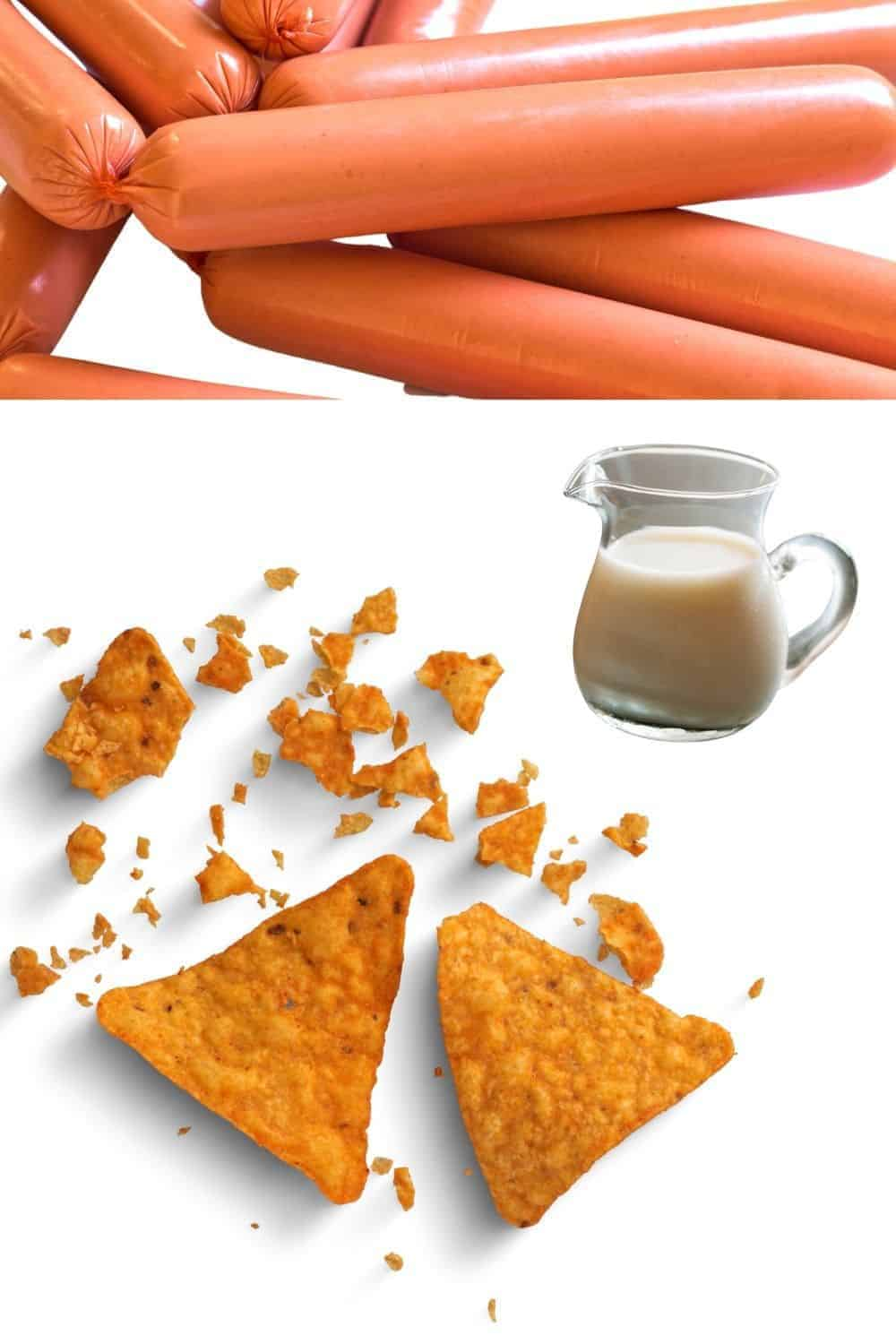 Doritos buttermilk and hot dogs to make air fryer hot dogs with Doritos Crunch