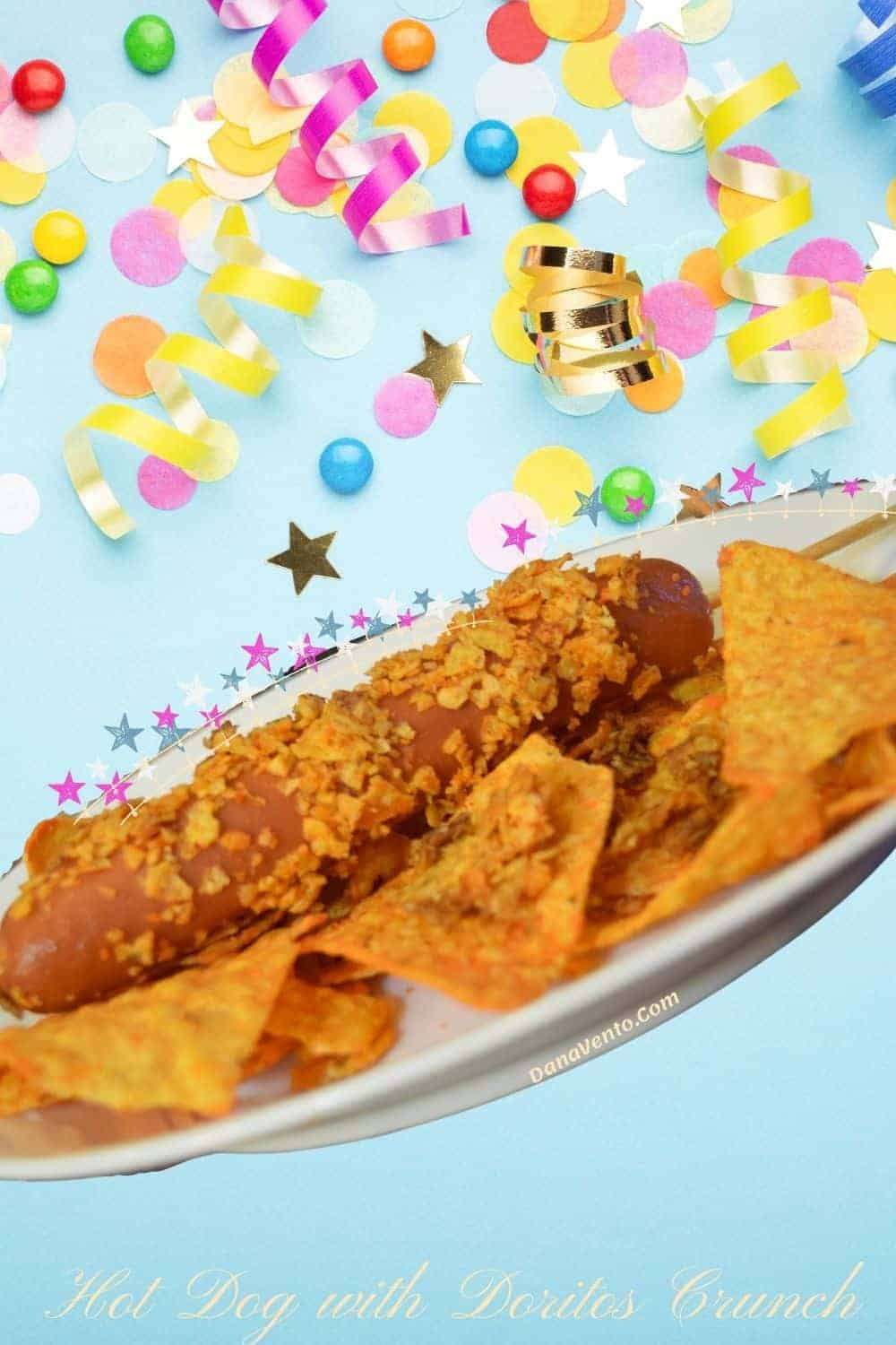 Hot Dog with Doritos Crunch on plate