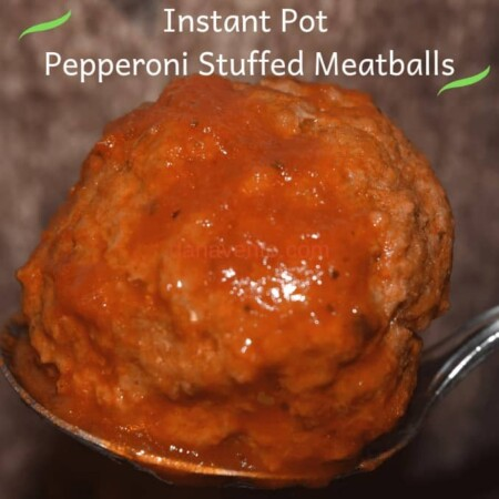 Pepperoni Stuffed Meatball Up Close