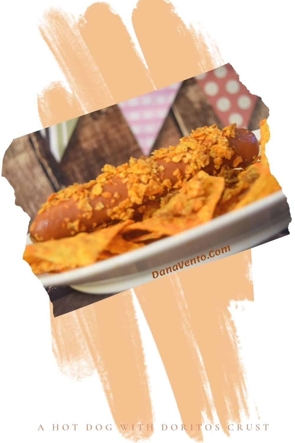 air fryer hot dogs with Doritos Crust on party plate