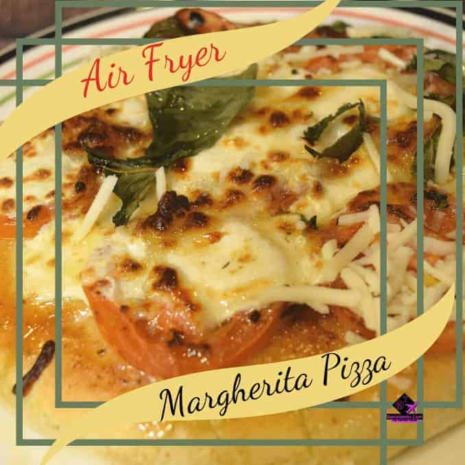 Air Fryer Single Serve Margherita Pizza with Fresh Basil, AIR FRYER, AIR FRYER RECIPE, AIR FRYER VIDEO RECIPE, HOW TO, MARGHERITA PIZZA, MOZZARELLA, TOMATO, BASIL, DELICIOUS, FRESH,