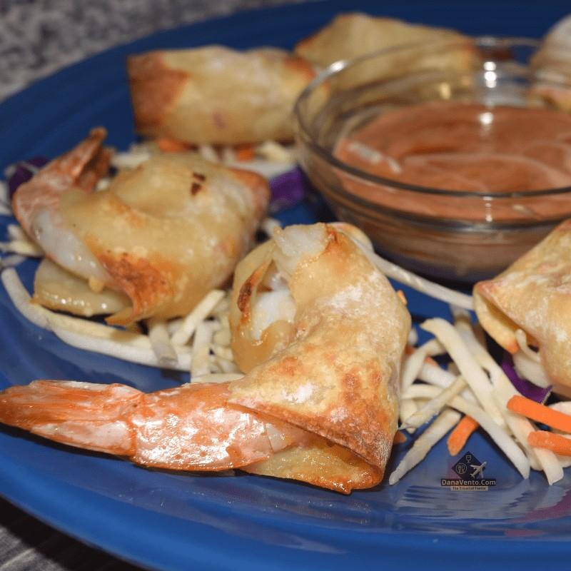 Air Fryer Firecracker Shrimp  pn a blue plate