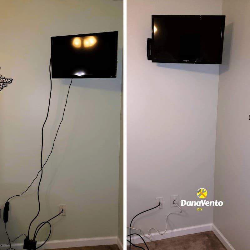 Before and After wall-mounted TV cables in wall